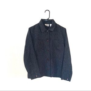 Vintage Chico's Knit Charcoal Gray Button Down M 1